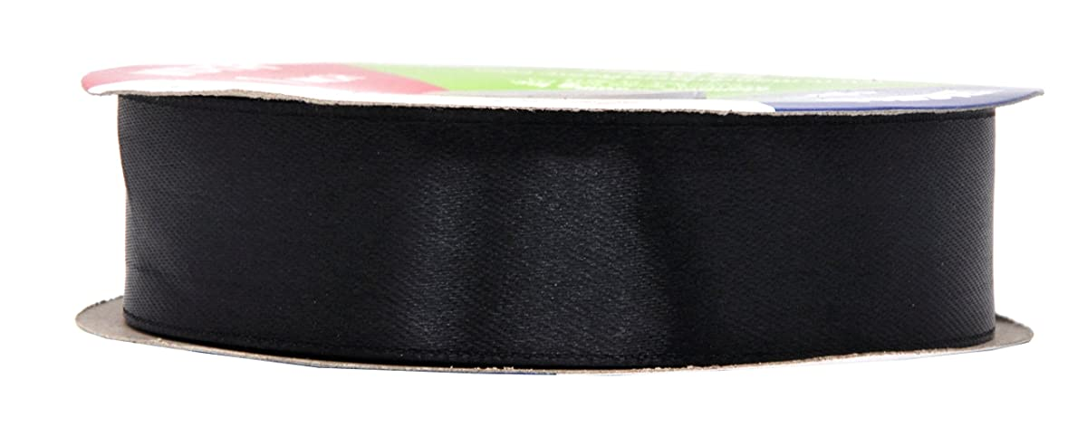 Mandala Crafts Satin Fabric Ribbon for Hair Bow Making, Gift Wrapping, Flowers, Decorations, and Weddings (1 inch 50 Yards, Black)
