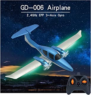 Sallymonday Imported DIY RC Airplane RTF 548mm Wingspan with Light Bar, 2.4GHz Remote Control 3-Axis Gyro EPP Super Easy to Fly for Beginners 14 Years Old Kids Adult (GD-006)