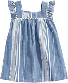 Little Girls Striped Peasant Dress