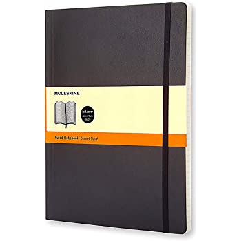 """Moleskine Classic Notebook, Soft Cover, XL (7.5"""" x 9.5"""") Ruled/Lined, Black, 192 Pages"""