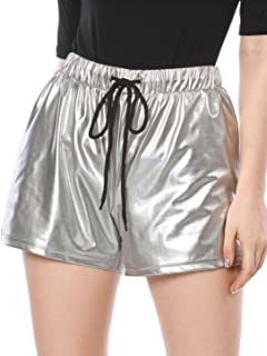 Allegra K Damen High Waist Elastisch Drawstring Metallic Kurze Hose Shorts