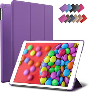 iPad Air Case, ROARTZ Purple Slim Fit Smart Rubber Coated Folio Case Hard Shell Cover Light-Weight Auto Wake/Sleep for Apple iPad Air 1st Generation Model A1474/A1475/A1476 Retina Display