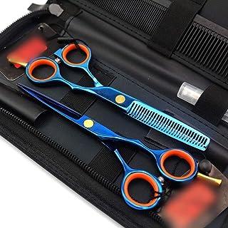 Professional Barber 5.5-inch Professional Double-Tailed Haircut Set, Blue Set Flat Scissor + Tooth Scissor Set Scissors (C...