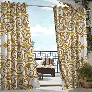 Andrea Sam Patio Curtains Victorian,Victorian Lace Floral,W72 xL84 Outdoor Curtain Waterproof Rustproof Grommet Drape
