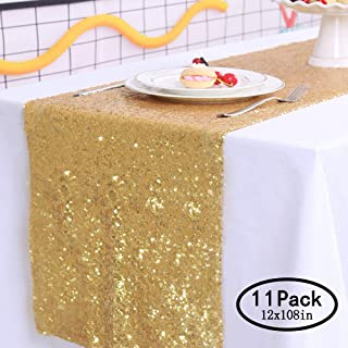 TRLYC Gold Sequin Runner-Gold-Table Runners- for Wedding (Pack 11,12x108in)