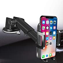 Car-Phone-Mount-Upgraded-Cell Phone Holder for Windshield Dashboard with Adjustable Long Arm Washable Strong Suction Cup Sticky Gel Pad for iPhone 11 Pro/XR/XS Max/6s/Samsung S10+/Note 9/S8 Plus
