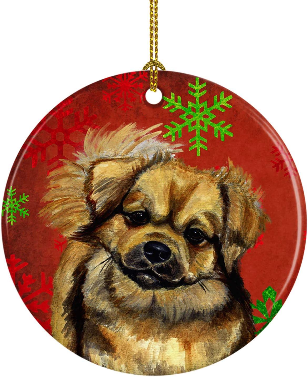 Caroline's Outlet SALE Treasures Fees free LH9349-CO1 Tibetan Spaniel Green Snowfl Red
