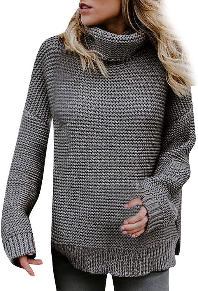 Hemlock Women Long Turtleneck Knitted Sweater Coats Jumper Pullover Tops Blouse Loose Winter Knitwear