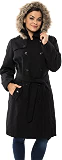 Womens Parka Trench Pea Coat Belt Jacket Fur Hood Reg & Plus Sizes