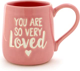 """Enesco 6000501 Our Name Is Mud """"You Are Loved"""" Stoneware Engraved Coffee Mug, 16 oz, Pink"""