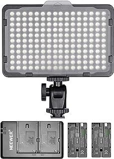 Neewer Ljuspanel 176 LED dimbar med 2 st. litiumbatterier 2 600 mAh, dubbel USB-laddare för spegelreflexkameror från Canon...
