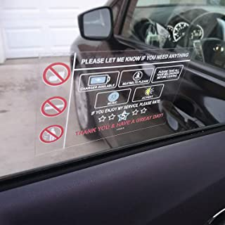 LOTUS-A Rideshare Accessories Rating No Tips Required Sign - Rideshare Accessories 3 Window Cling Reusable Removable for T...