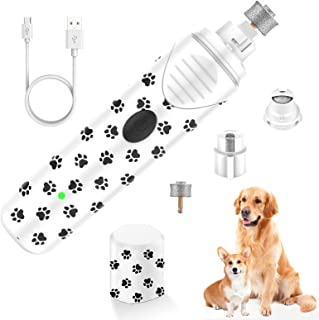 PBRO Dog Nail Grinder,Professional Two Speed Electric Pet Nail Trimmer-Portable Rechargeable (with LED)-for Small Medium and Large Dogs & Cats,Painless Paws Grooming & Low Noise & Safe-Black/White
