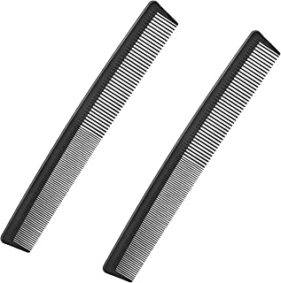 2 Pack Hair Cutting Combs with Wide Fine Tooth, Carbon Barber Fiber Heat Resistant Anti Static for Salon Hairdressing Styl...