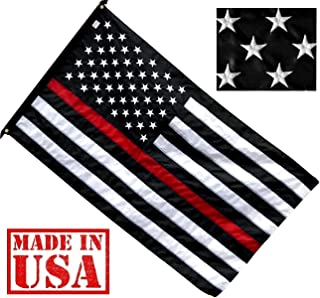 US Flag Factory 3x5 FT Thin RED Line American Flag (Embroidered Stars, Sewn Stripes) for Firefighters - SolarMax Nylon Outdoor - Made in America!