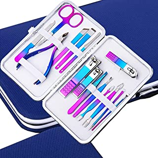 IFAN Professional Nail Clipper Nail File Nail Cutter 15PCS in 1 Rainbow Stainless Steel Manicure Set Pedicure Combo Facial...