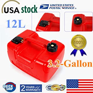 Portable Boat Fuel Tank, 3.2 Gallon Outboard Fuel Tank W/Connector, Gas Tank Gasoline Diesel Outboard Fuel Tanks for Yacht Marine Inflatables Tinnies Canoes Kayaks