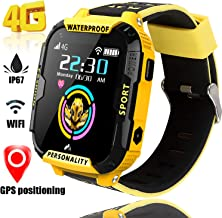 4G Smart Watch for Kids GPS Tracker - Boys Girls Smartwatch Phone with IP67 Waterproof SOS Digital Watch Wi-Fi Calling Voice Video Chat Camera Pedometer Activity Tracker Games for Children (Yellow)