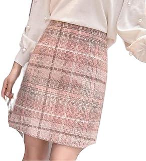 Skirts Tweed Wool Mini Mujeres 2019 Coreano Moda Gris Rosa y Negro Alta Cintura Lana para las Mujeres Faldas