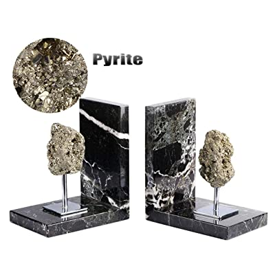 AMOYSTONE Decor Bookends Support Pyrite Black M...