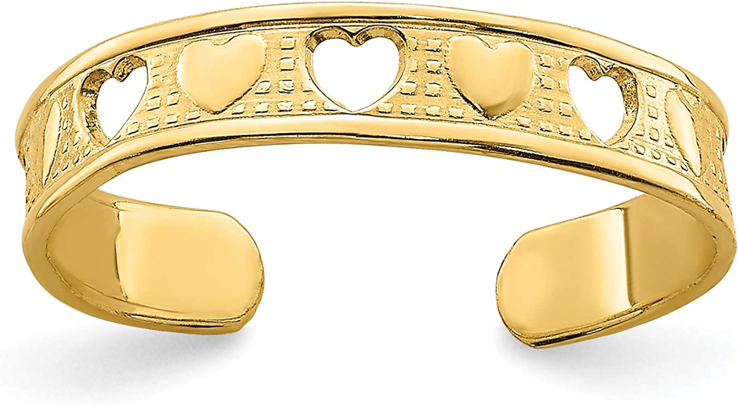 14k Yellow Gold Alternating Open and Solid Hearts Toe Ring