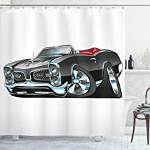Ambesonne Cars Shower Curtain, American Nostalgic Sports Muscle Car with Speeding Wheels Tires Print, Cloth Fabric Bathroom Decor Set with Hooks, 70 Long, Grey Blue