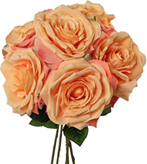 Larksilk Premium Apricot Silk Artificial Roses for Bridal Bouquet, Wedding or Party Centerpiece Flower Decoration - Six Roses with 20