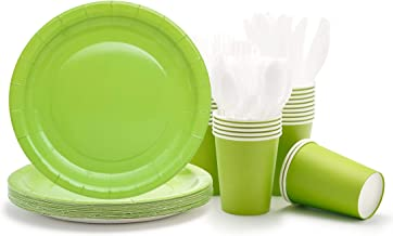 Party Paper Plates, Cups, Flatware, 120-Piece Disposable Dinnerware Set, Green, Includes 9-Inch Dinner Plates, 9oz Cups, Knives, Forks, and Spoons, Serves 24…