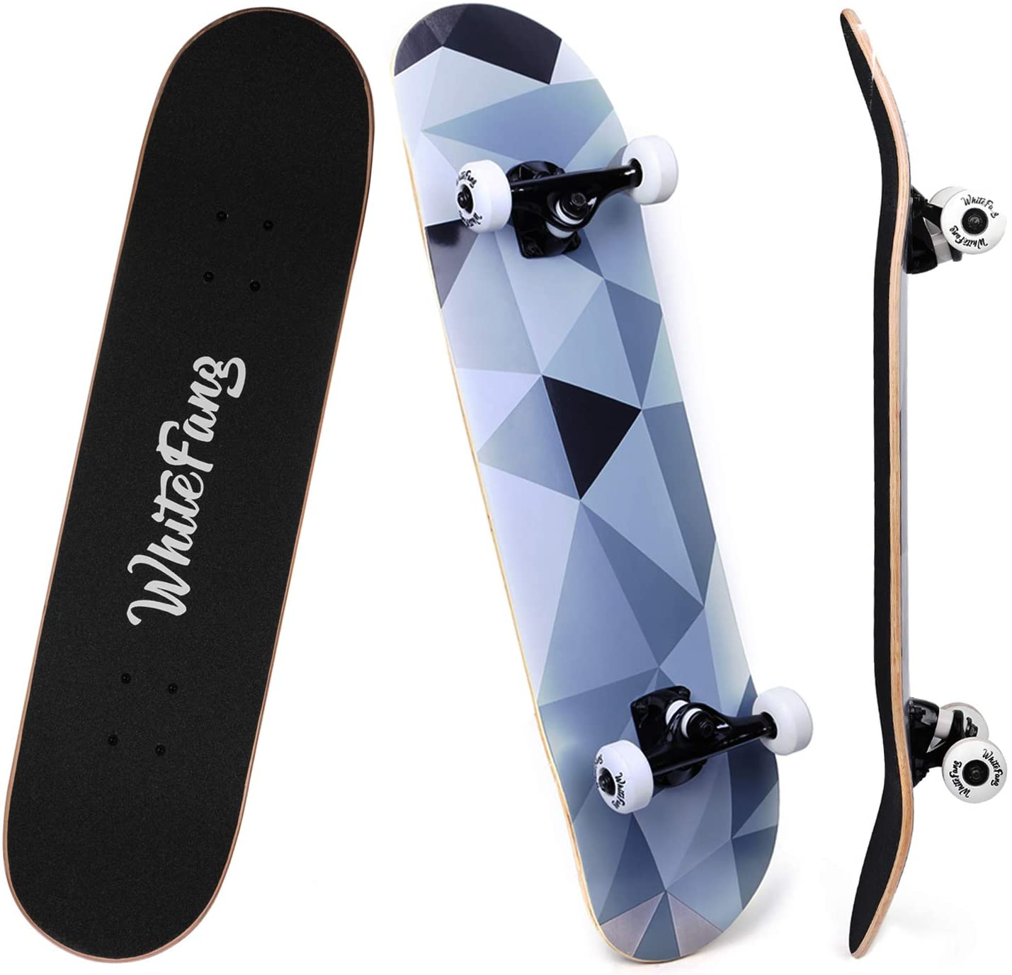 WhiteFang Skateboards for Beginners, Complete Skateboard 31 x 7.88, 7 Layer Canadian Maple Double Kick Concave Standard and Tricks Skateboards for Kids and Beginners (Diamond) : Sports & Outdoors