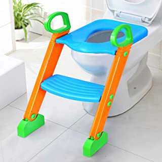 Potty Training Seat with Step Stool for Kids, GPCT Toddler Toilet Seat for Boys,Girls,Baby W/Ladder. Sturdy, 3-in-1 Comfortable, Safe, Built in Non-Slip Steps W/Anti-Slip Pads