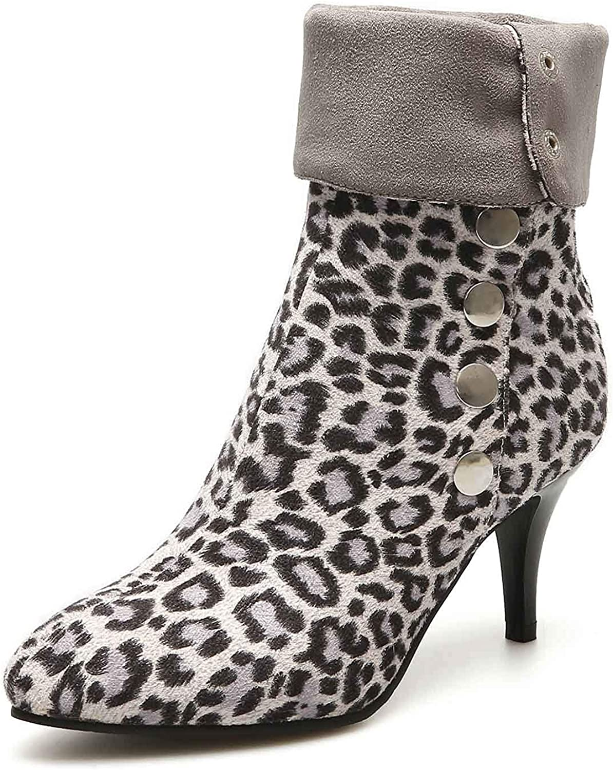 Unm Women's Pointy Toe Animal Print Boots with Buckles - High Stiletto Heel - Leopard Ankle Booties