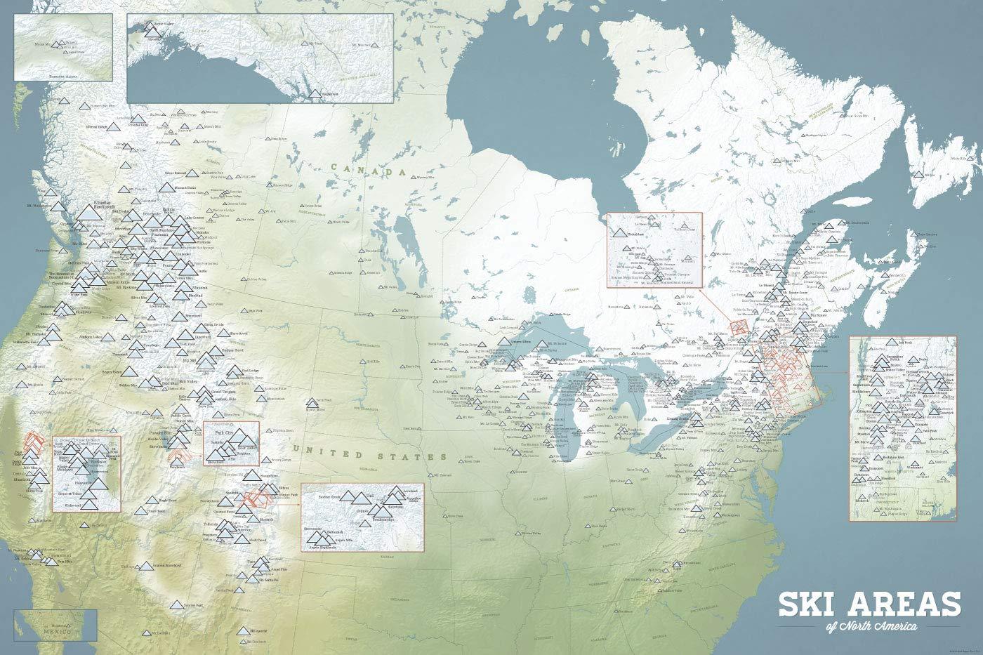 Amazon.com: North America Ski Resorts Map 24x36 Poster (Natural Earth):  Home & Kitchen