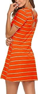 Women's Casual Striped Criss Cross Short/Long Sleeve T Shirt Dress with Pockets