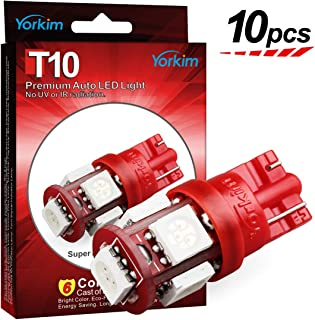Yorkim T10 LED Bulb Red 6000k Super Bright Newest 5th Generation Universal Fit Pack of 10