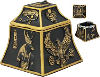 Ebros Egyptian Deity Scarab Eye of Horus Falcon Anubis Gods Of Egypt Jewelry Box Figurine Sculpture Trinket Hidden Storage Decor