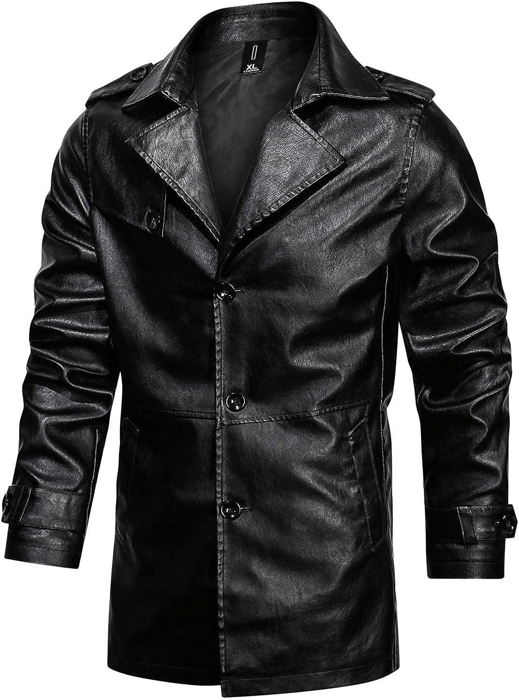 Men's Leather Trench Coat Stylish Notched Lapel Single Breasted Black Mid Long PU Leather Overcoat Jacket