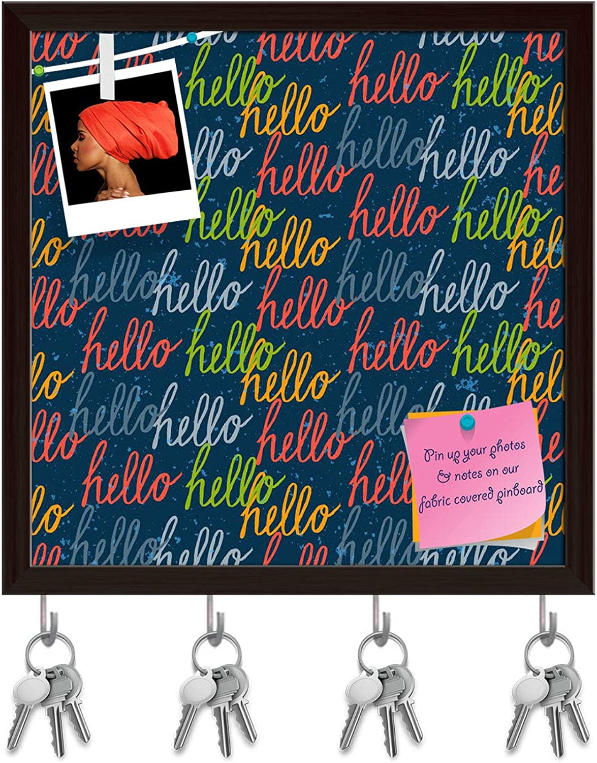 Artzfolio Hello Lettering Key Holder Hooks   Notice Pin Board   Dark Brown Frame 20 X 20Inch