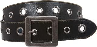 Square Buckle Grommets Vintage Distressed Leather Jean Belt