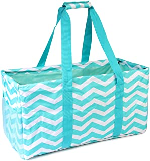MYS Collection All Purpose Lightweight Printed Large Utility Tote - Versatile Reusable Grocery Shopping, Laundry, Picnic Open Top Bag (Zigzag - Light Teal White)