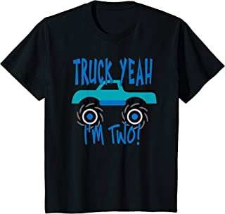 Kids Truck Yeah, I'm Two Blue Monster Truck for 2 Year Birthday T-Shirt