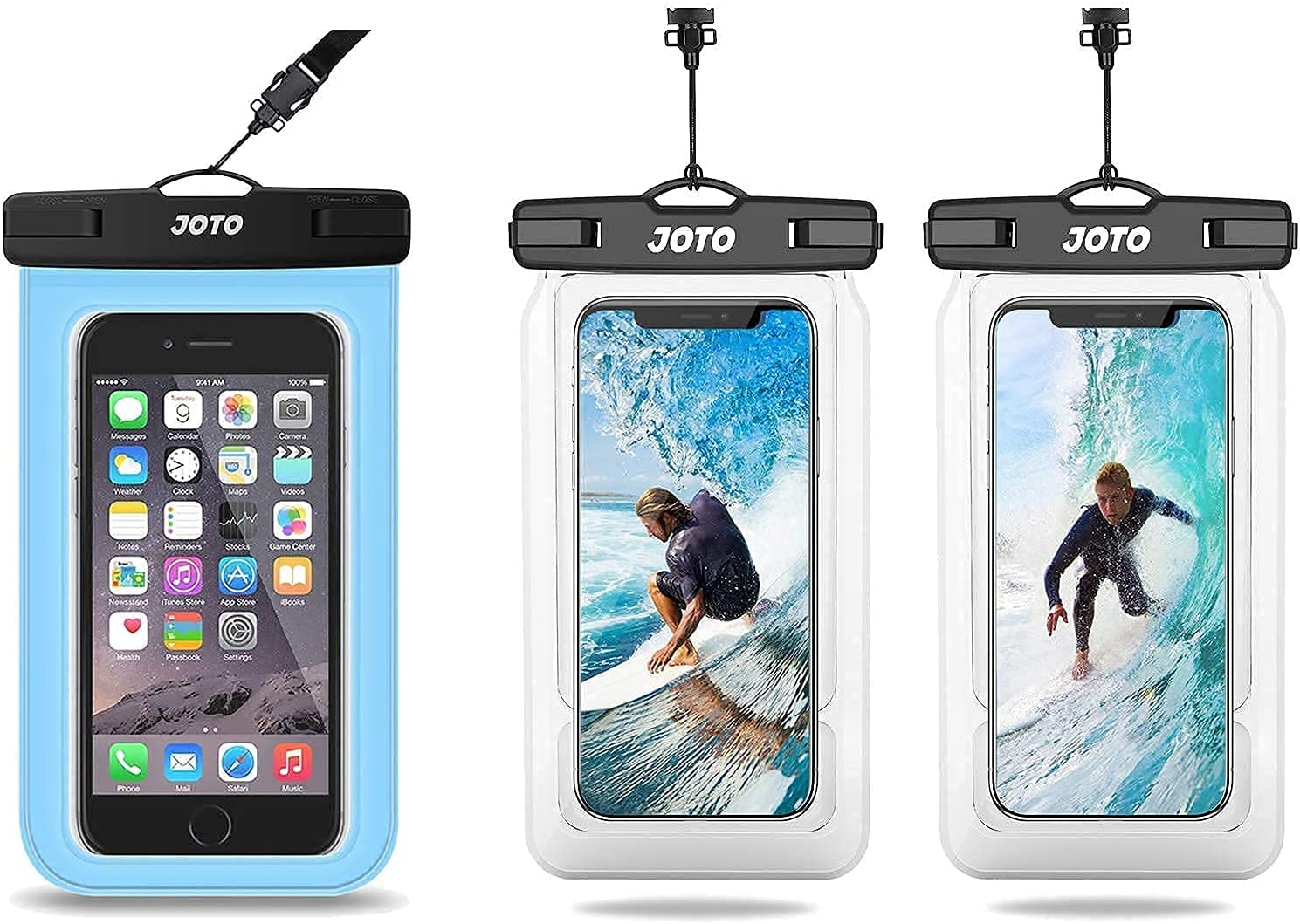 JOTO Universal Blue Waterproof Pouch for iPhone 11 Pro Max, Galaxy S20 Note 10+ up to 6.9