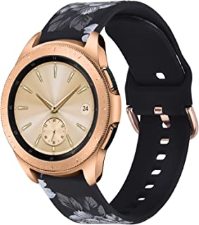 KOREDA Floral Bands Compatible with Samsung Galaxy Watch 42mm/Active 2 40mm 44mm/Galaxy Watch 3 41mm Bands, 20mm Soft Pattern Printed Galaxy Watch Active 40mm/Gear Sport Bands Silicone Sport Wristbands for Women Men
