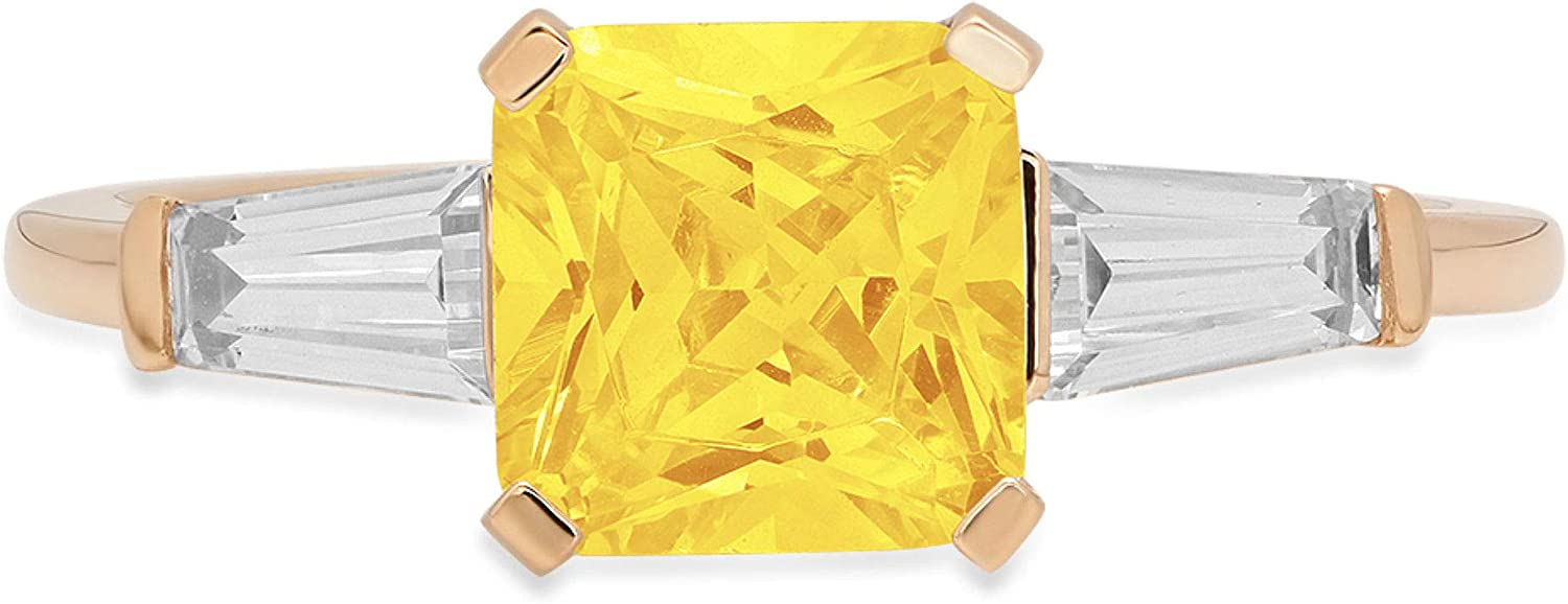 1.56ct Square Emerald Baguette cut 3 stone Solitaire Canary Yellow Ideal VVS1 Simulated Diamond CZ Engagement Promise Statement Anniversary Bridal Wedding Ring 14k Yellow Gold