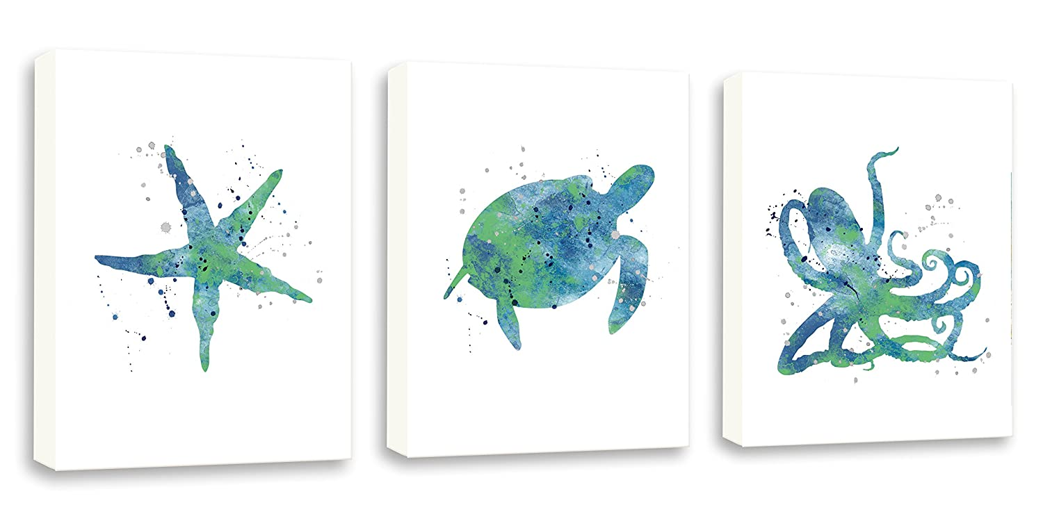 Watercolor Nautical Art OFFicial For Bathroom Turtle Painting Albuquerque Mall Sea