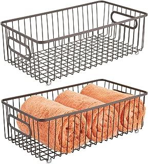 mDesign Metal Bathroom Storage Organizer Basket Bin - Farmhouse Wire Grid Design - for Cabinets, Shelves, Closets, Vanity Countertops, Bedrooms, Under Sinks - Large, 2 Pack - Bronze