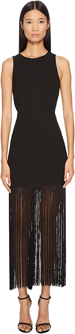 Polycrepe Sleeveless Fringe Dress