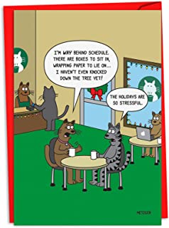 12 'Stressful Holidays' Christmas Cards with Envelopes 4.63 x 6.75 inch, Happy Holidays Hilarious Kitty Cat Cartoon Cards, Illustration of Cats in Coffee Shop Season's Greetings Cards C4530XSG-B12
