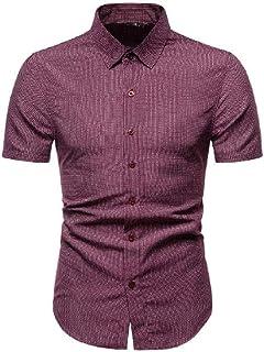 Macondoo Men Summer Casual Plaid Short Sleeve Baggy Printed Floral Button Down Shirts