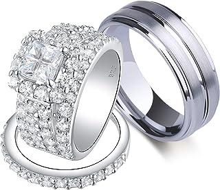 Wuziwen زوجين خواتم الزفاف مجموعة لديه النساء تشيكوسلوفاكيا الفضة خاتم الزفاف مجموعة الرجال الفرقة التنجستن