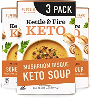 Keto Soup by Kettle and Fire, Mushroom Bisque, Pack of 3, Gluten Free, Paleo Friendly,..
